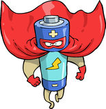 Cartoon battery superhero Royalty Free Stock Photo
