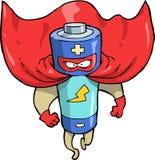 Cartoon battery superhero Royalty Free Stock Photo