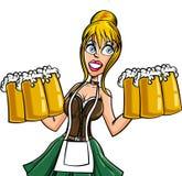 Cartoon Bavarian bard maid. Isolated on white Stock Images