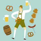 Cartoon Bavarian man with beer and food Royalty Free Stock Photography