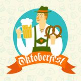 Cartoon Bavarian man with beer and pretzel Stock Photos