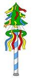 Cartoon of a bavarian maypole Stock Image