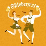 Cartoon Bavarian pair with beer and pretzel. Cute cartoon Bavarian man and woman with beer, sausage and pretzel dancing together. Oktoberfest illustration for Royalty Free Stock Image