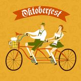 Cartoon Bavarian pair cyclist with beer and pretzel Royalty Free Stock Image