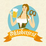 Cartoon Bavarian woman with beer and pretzel Royalty Free Stock Photos