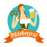Cartoon Bavarian woman with beer and pretzel Royalty Free Stock Image