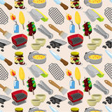 Cartoon BBQ seamless pattern Stock Photo