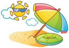 Cartoon beach illustration. Vector cartoon summer beach illustration Stock Images