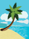 Cartoon beach with palm Royalty Free Stock Images