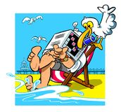 Cartoon beach scene. Cartoon caricature of man in beach chair with seagull working crossword puzzle over face while sleeping Royalty Free Stock Images