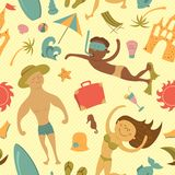 Cartoon beach seamless pattern Royalty Free Stock Photos