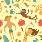 Cartoon beach seamless pattern Royalty Free Stock Photos