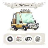 Cartoon Beach SUV Set Royalty Free Stock Image