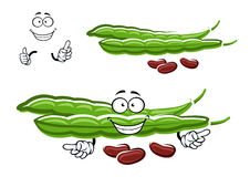 Cartoon bean pods with brown beans Royalty Free Stock Photography
