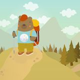 Cartoon bear adventure tourist. Vector hand drawn illustration Stock Photo