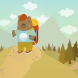 Cartoon bear adventure tourist. Vector hand drawn illustration vector illustration