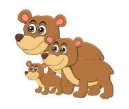 Cartoon bear animal family isolated on white background.  Royalty Free Stock Image