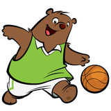 Cartoon bear basketball player Stock Image