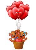 Cartoon bear in a basket with red heart shape balloon. Illustration of Cartoon bear in a basket with red heart shape balloon Stock Images