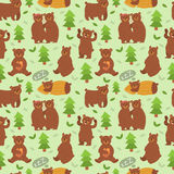 Cartoon bear character different pose vector seamless pattern Stock Photography