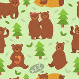 Cartoon bear character different pose vector seamless pattern Royalty Free Stock Photo