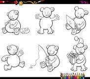 Cartoon bear characters set coloring book Stock Photos