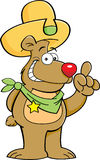 Cartoon bear in a cowboy hat with an idea Stock Photo
