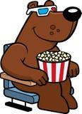 Cartoon Bear 3D Movies. A cartoon illustration of a bear watching a 3D movie Stock Photography