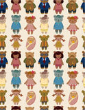 Cartoon bear family icon set seamless pattern. Drawing Royalty Free Stock Photo