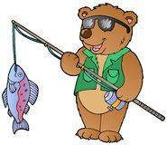 Cartoon bear fisherman Stock Photo