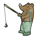 cartoon bear with fishing rod Royalty Free Stock Images
