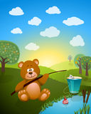Cartoon bear fishing Royalty Free Stock Images
