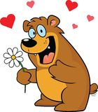 Cartoon Bear With Flower Royalty Free Stock Image