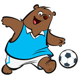 Cartoon bear football player Royalty Free Stock Image