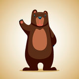 Cartoon bear. Funny bear waving a paw Cartoon character vector illustration