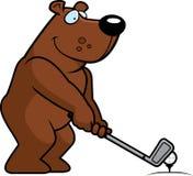 Cartoon Bear Golfing Royalty Free Stock Images
