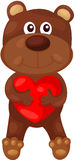 Cartoon bear with heart Stock Image