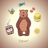 Cartoon bear and his food Stock Images