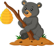 Cartoon bear holding branch with bee hive Stock Images