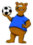 Cartoon bear holding football. Funny cartoon of a bear holding a football. This artwork was created manually with ink and markers on illustration board Royalty Free Stock Images
