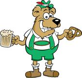 Cartoon bear holding a pretzel and a beer mug. Royalty Free Stock Images