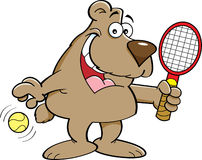 Cartoon bear holding a tenis racket. Royalty Free Stock Image