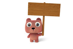 A cartoon bear holding a wooden sign,3D illustration. Royalty Free Stock Images