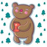 Cartoon bear with honey pot. In vector Royalty Free Stock Photography