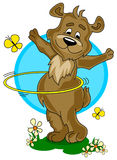 Cartoon bear with  hula hoop Royalty Free Stock Photos