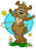 Cartoon bear with hula hoop royalty free stock photos