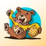 Little bear licking honey from a hive. Vector cartoon illustration. stock illustration