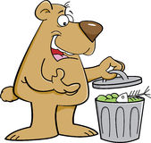 Cartoon bear looking in a garbage can. Stock Photography