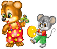 Cartoon bear and mouse. Colorful cartoon bear and mouse, isolated on a white background stock illustration
