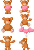 Cartoon bear with pink heart collection set Royalty Free Stock Image
